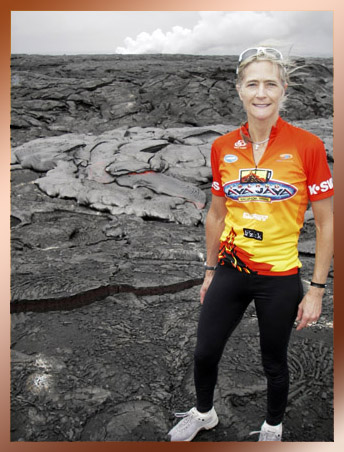 Diane on active lava flow, Hawaii